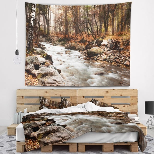 Designart 'Stream in Autumn Forest' Landscape Photography Wall Tapestry