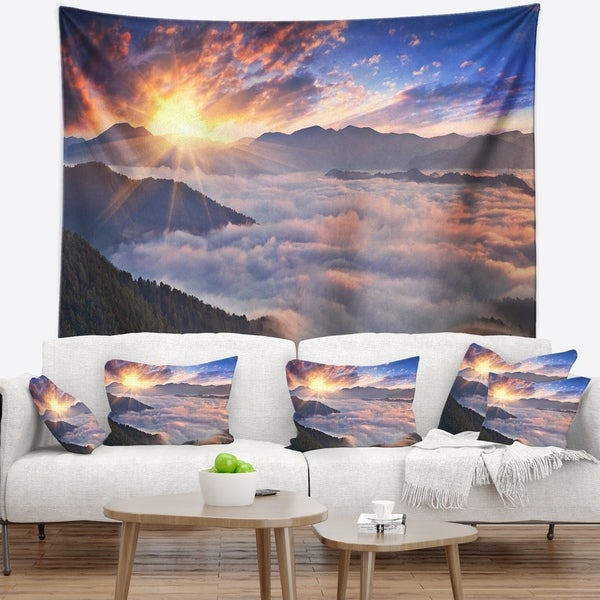 Designart 'Bright Sun in Misty Mountains' Landscape Photography Wall Tapestry