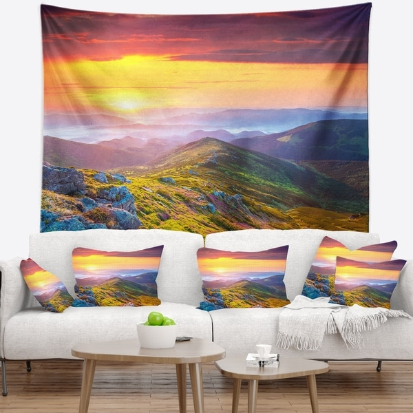 Designart 'Rhododendron Flowers in Colorful Hills' Landscape Photography Wall Tapestry