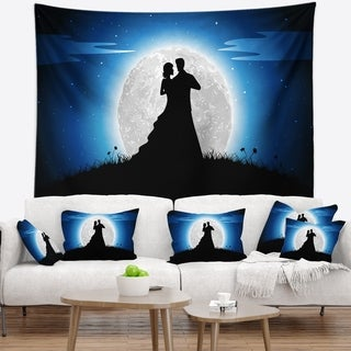 Designart 'Couple Embrace in Night' Romantic Wall Tapestry