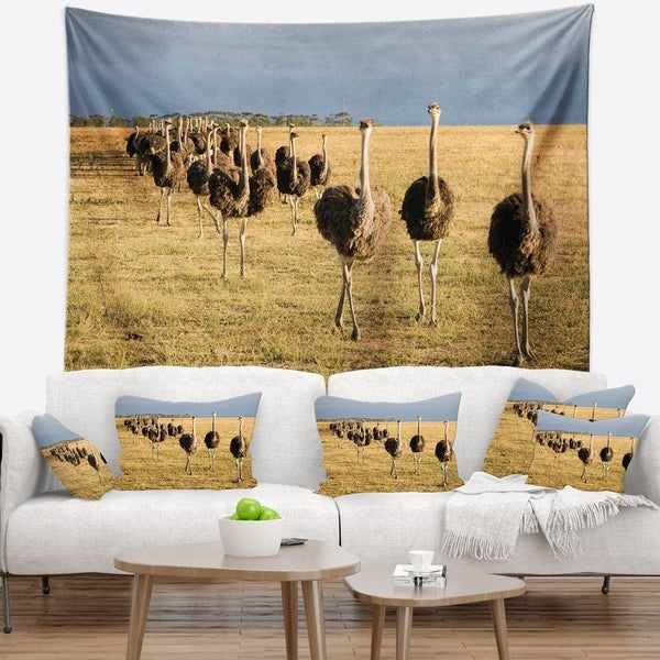 Designart 'Ostriches Walking in South Africa' African Wall Tapestry