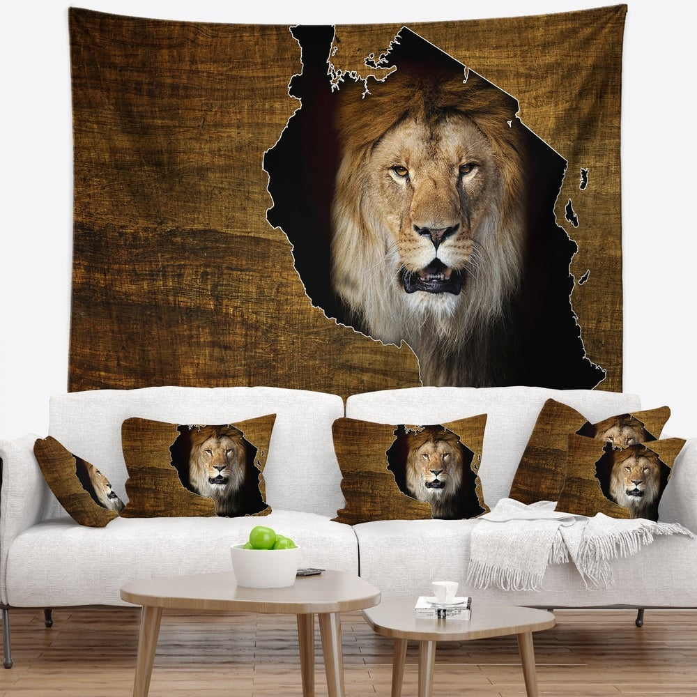 Designart Tanzania Wildlife Map Design Abstract Wall Tapestry 39 In X 32 In Shefinds