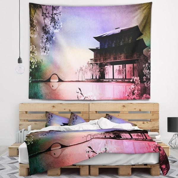 Designart 'Rural Landscape with Flowers' Landscape Painting Wall Tapestry