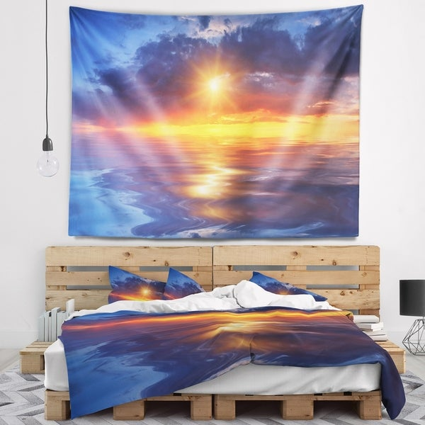 Designart 'Cloudy Sunset Reflection in Lake' Cityscape Wall Tapestry