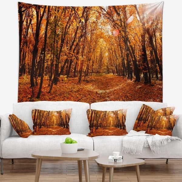 Designart 'Yellow Falling Leaves in Forest' Landscape Photo Wall Tapestry