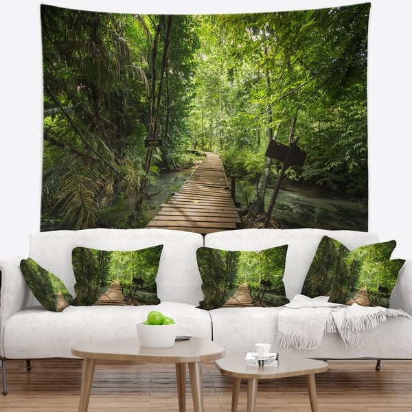 Designart 'Forest Way to Emerald Pool' Landscape Photo Wall Tapestry