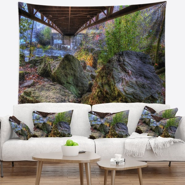 Designart 'Large Rocks Under Bridge in Creek' Landscape Photography Wall Tapestry