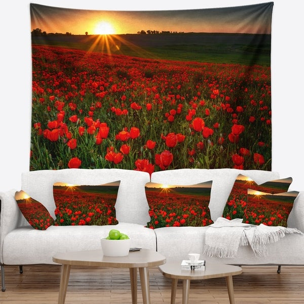 Designart 'Sunset over Garden with Red Poppies' Floral Wall Tapestry