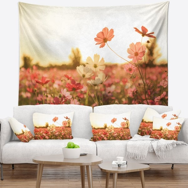 Designart 'Cosmos Flowers on Sunset Background' Floral Wall Tapestry