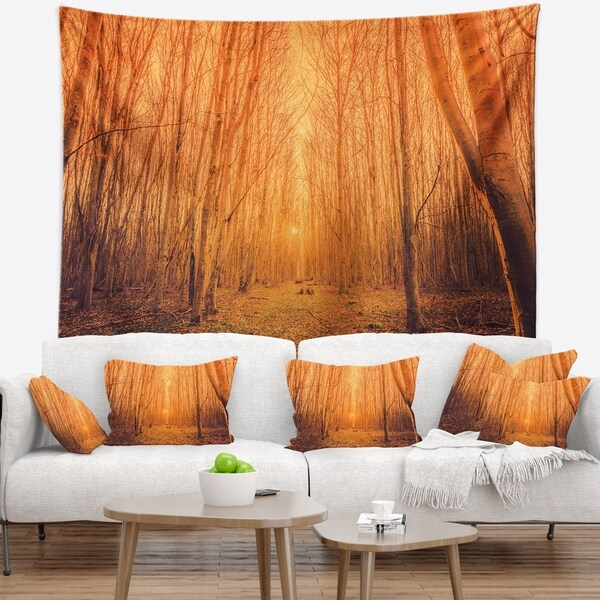 Designart 'Sunrise in a Forest with Tall Trees' Landscape Photography Wall Tapestry