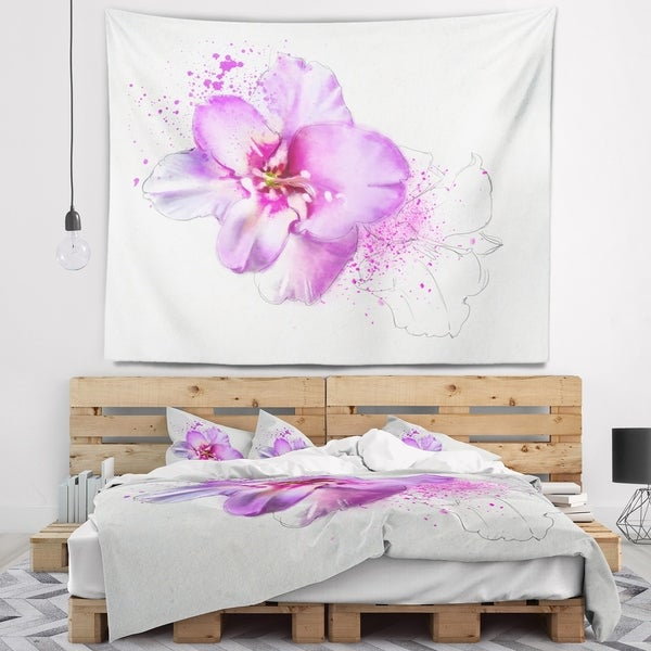 Designart 'Blooming Pink Fowler Watercolor' Floral Wall Tapestry