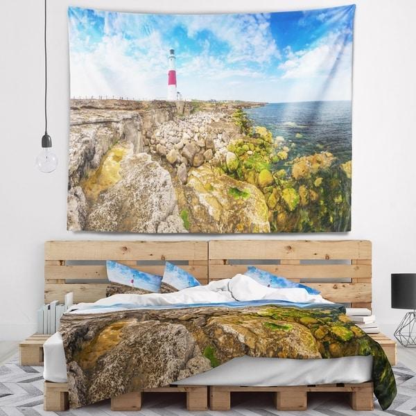 Designart 'Portland Bill Lighthouse' Landscape Wall Tapestry