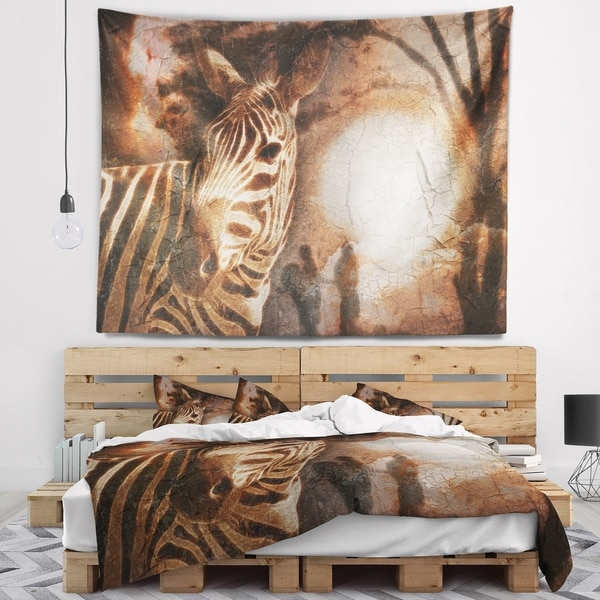 Designart 'Vintage Style African Zebra' African Wall Tapestry