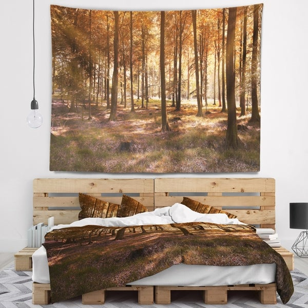 Designart 'Thick Fall Forest with Orange Leaves' Landscape Photography Wall Tapestry
