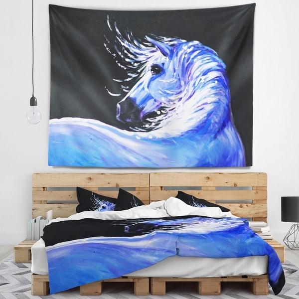 Designart 'Blue Horse Acrylic Art' Abstract Wall Tapestry
