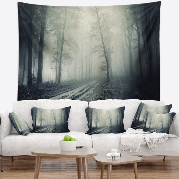 Designart 'Spooky Dark Forest with Fog' Landscape Photography Wall Tapestry