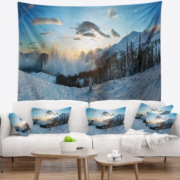 Designart 'Morning Winter Carpathian Mountains' Landscape Wall Tapestry