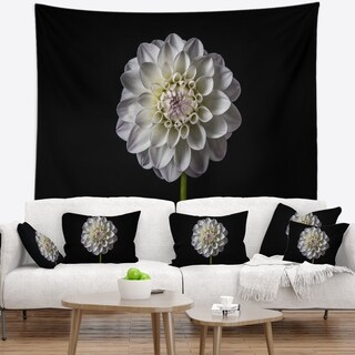 Designart 'Isolated Dahlia Flower in Black' Floral Wall Tapestry