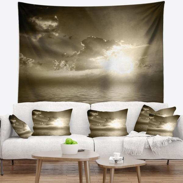 Designart 'Sepia Toned Cloudy Sunrise' Landscape Wall Tapestry