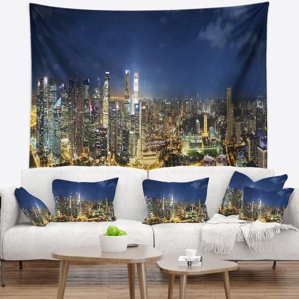 Designart 'Singapore Skyscrapers Panorama' Cityscape Wall Tapestry