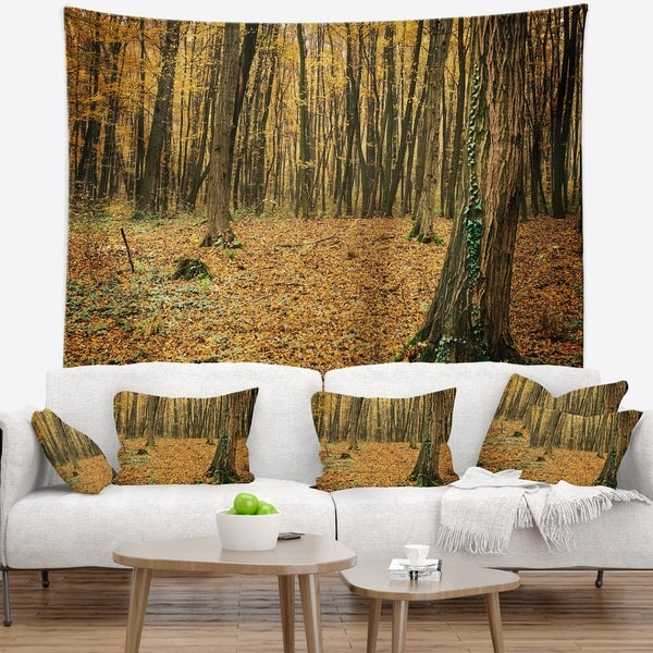 Designart 'Beautiful Autumn Forest in Mountains' Modern Forest Wall Tapestry
