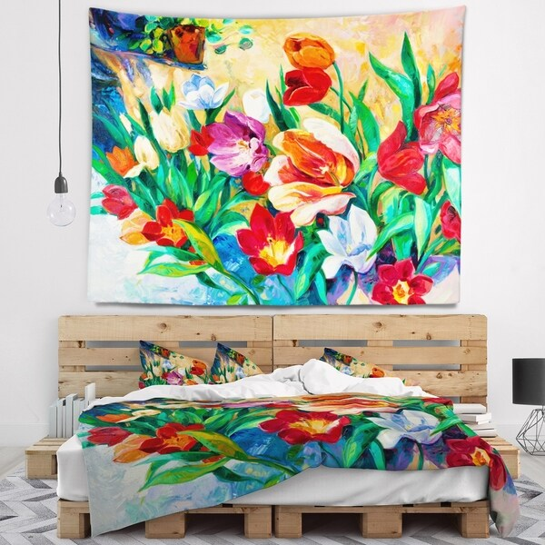 Designart 'Bouquet of Colorful Flowers' Floral Wall Tapestry