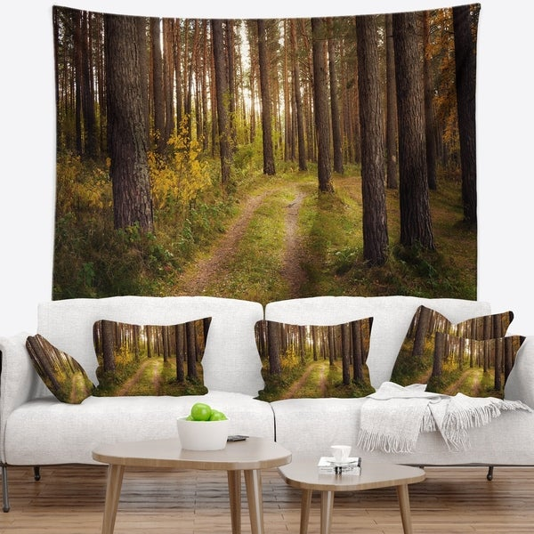 Designart 'Road through Thick Fall Forest' Modern Forest Wall Tapestry