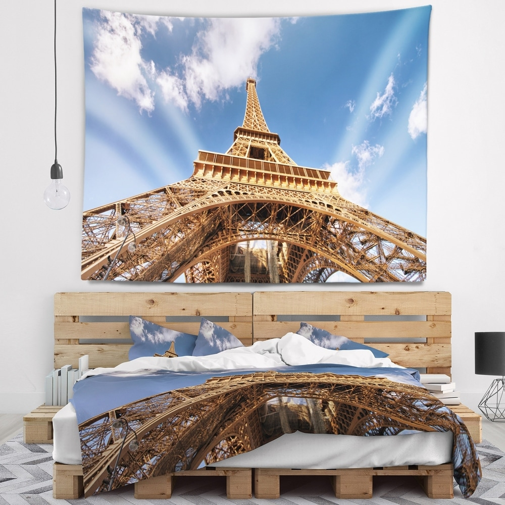 Designart Beautiful View Of Paris Paris Eiffel Towerunder Calm Sky Cityscape Wall Tapestry 80 In X 68 In Shefinds