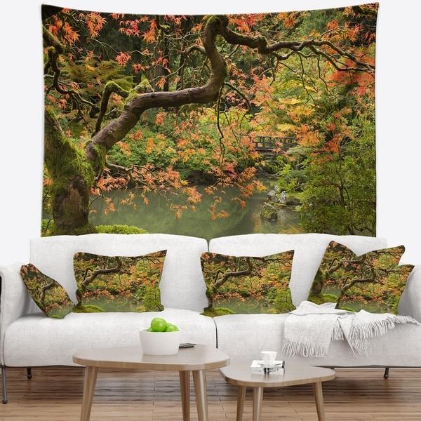 Designart 'Japanese Garden Fall Season' Landscape Wall Tapestry