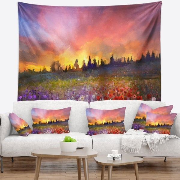 Designart 'Field of Poppy Dandelion and Daisy' Floral Wall Tapestry