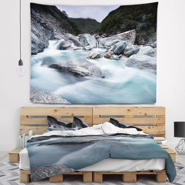 Designart 'Slow Motion Mountain River and Rocks' Landscape Wall Tapestry