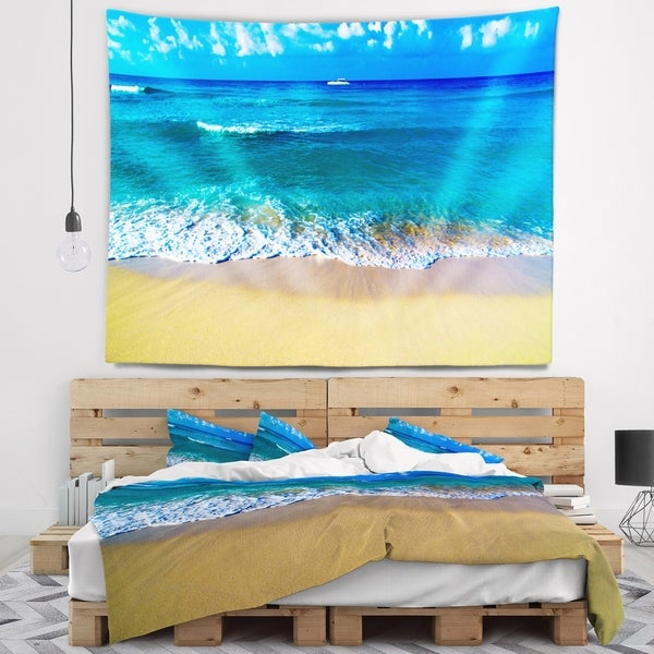 Designart 'Floating Blue Waves Beach' Seashore Wall Tapestry