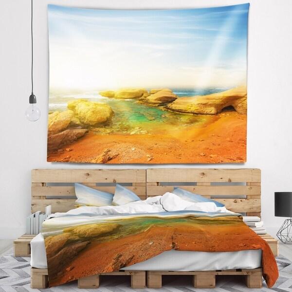 Designart 'Rocky Red Beach and Blue Sky' Seashore Wall Tapestry