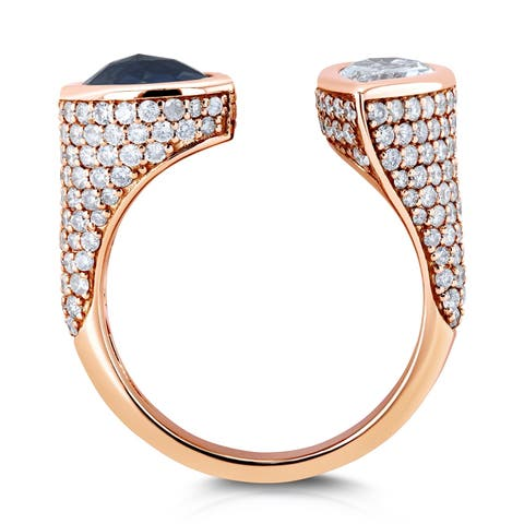 Kobelli Two Collection 18k Rose Gold Certified 3 7/8ct TDW Black and White Pear Diamond, Bezel and Pave Open Cuff Ring - Size 7