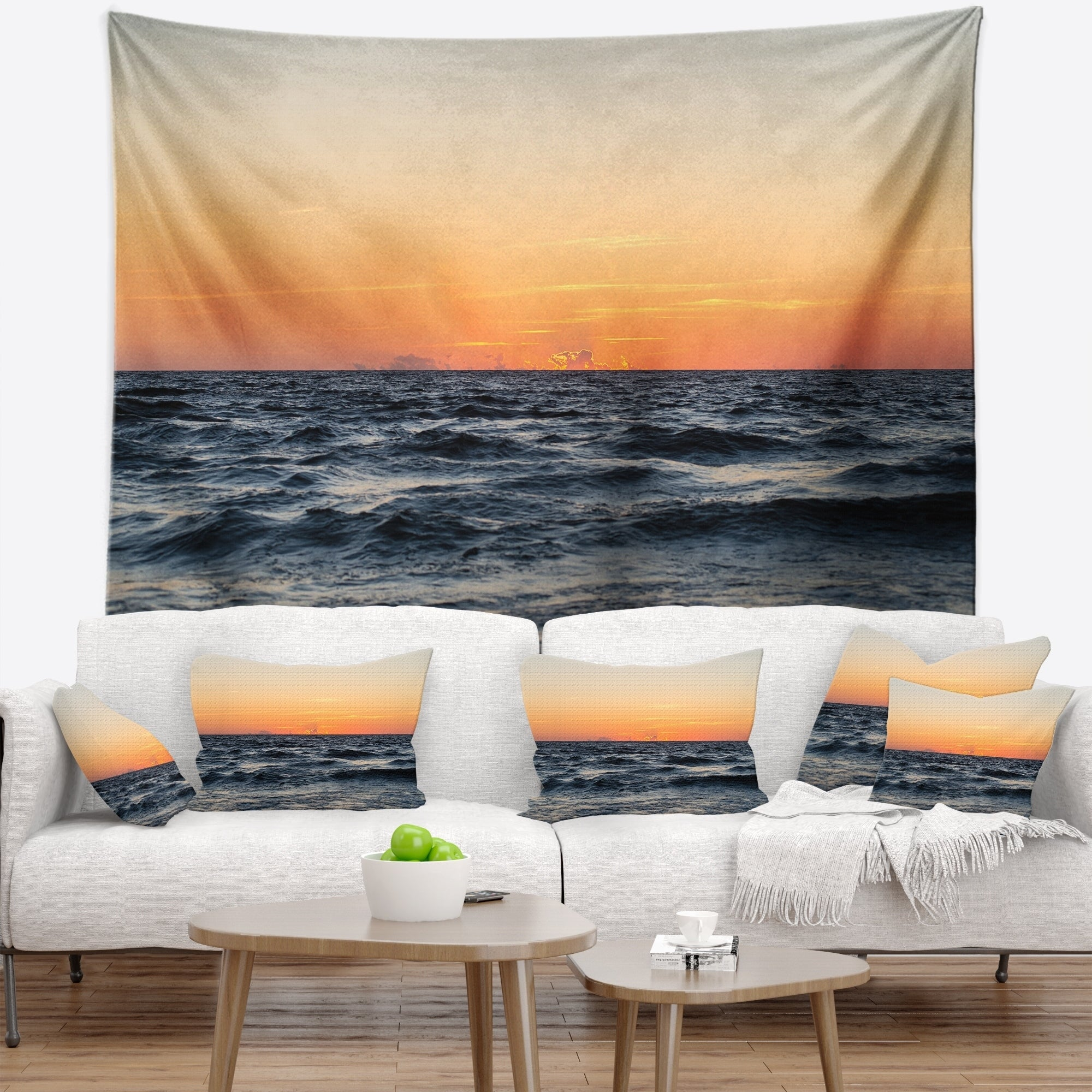 Sunset Sea Tapestry Art Wall Hanging Sofa Table Bed Cover Home Decor
