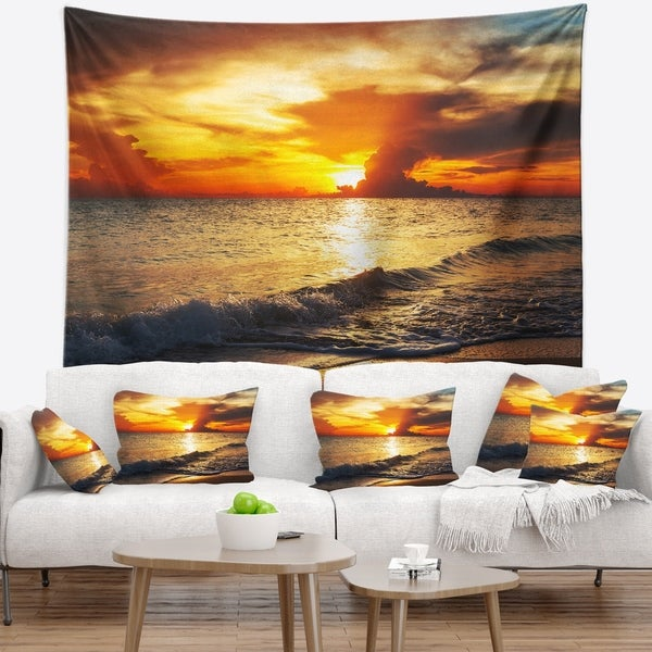 Designart 'Colorful Dramatic Sunset over Waves' Modern Beach Wall Tapestry