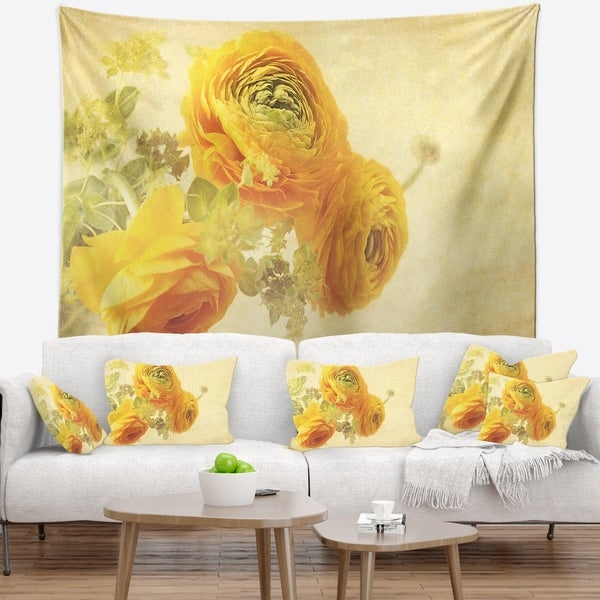 Designart 'Bunch of Yellow Ranunculus Flowers' Floral Wall Tapestry