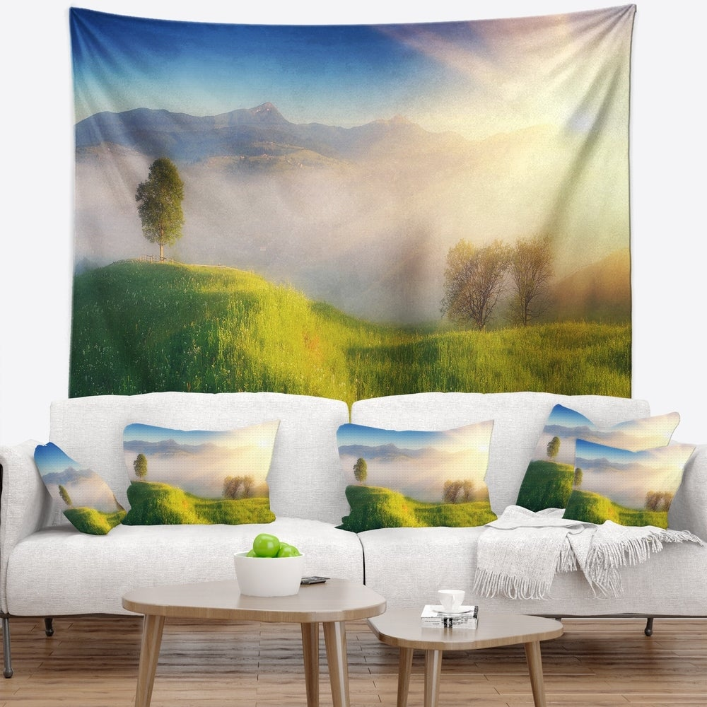 Designart Morning Mist Over Mountain Village Landscape Wall Tapestry 39 In X 32 In Shefinds