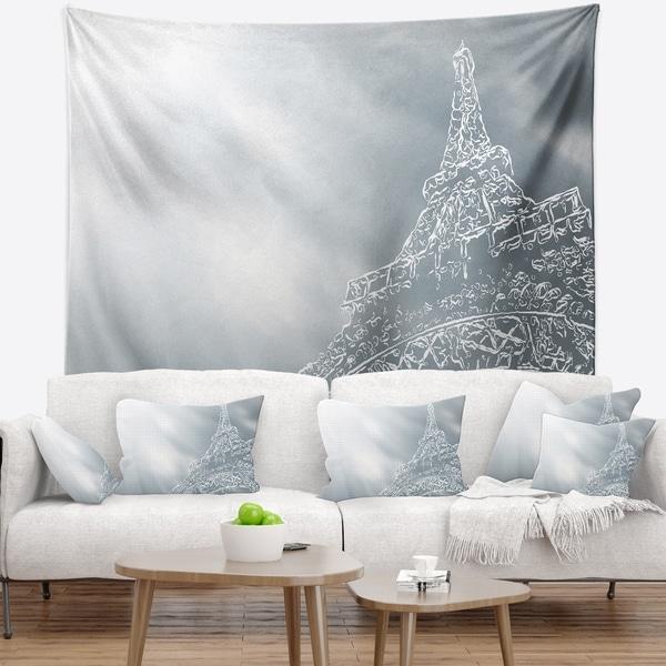 Designart 'Paris Eiffel TowerArt Background' Wall Tapestry