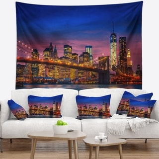 Designart 'Manhattan with Lights and Reflections' Wall Tapestry