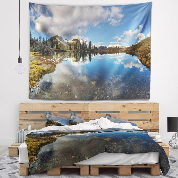 Designart 'Clear Lake with Pine Trees Panorama' Landscape Wall Tapestry