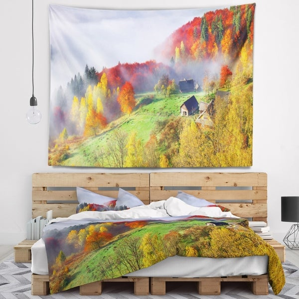 Designart 'Colorful Autumn Landscape in Mountains' Landscape Wall Tapestry