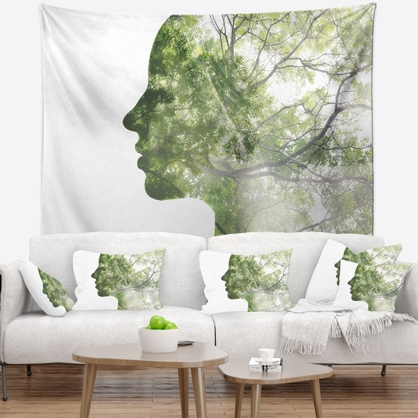 Designart 'Lady Combined With Green Tree' Portrait Wall Tapestry