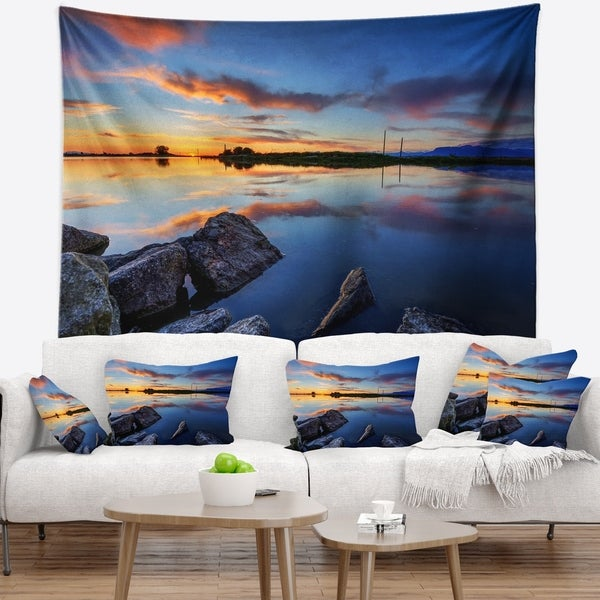 Designart 'Beautiful Calm Water and Sunset' Landscape Wall Tapestry
