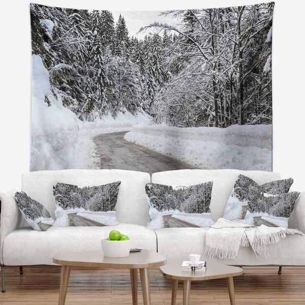 Designart 'Foggy Winter Road in Slovenia' Landscape Wall Tapestry