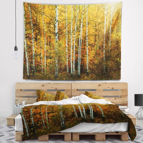 Designart 'Yellow Colorful Autumn Forest' Forest Wall Tapestry