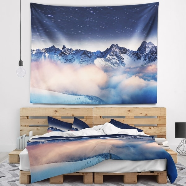 Designart 'Milky Way Over Frosted Mountains' Landscape Wall Tapestry