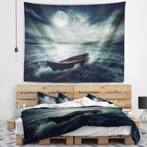 Designart 'Boat Drifting Away After Storm' Seashore Wall Tapestry