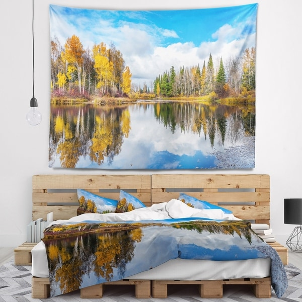 Designart 'Nice Autumn Trees With Forest Lake' Landscape Wall Tapestry