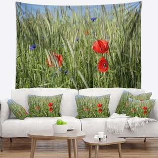 Designart 'Rural Landscape with Red Poppies' Landscape Wall Tapestry